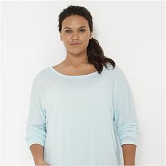 A woman wearing a white sweatshirt. Shop women's plus.