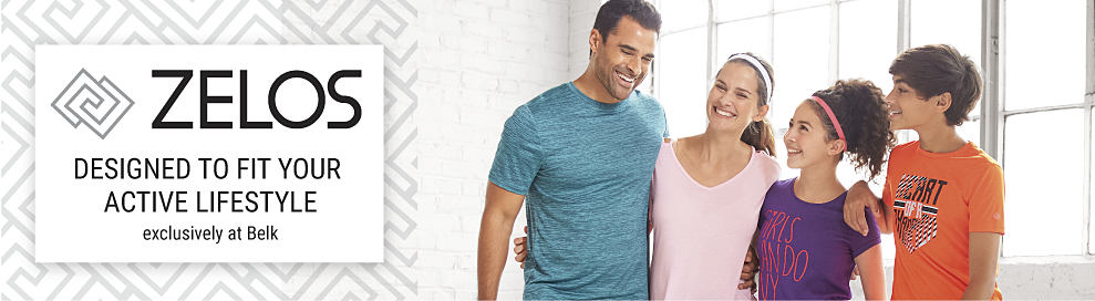 A man wearing a teal T-shirt, a woman wearing a pink top, a girl wearing a purple & red screen print T-shirt & a boy wearing an orange, black & white screen print T-shirt. Zelos. Designed to fit your active lifestyle. Exclusively at Belk.