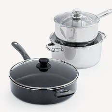3 pots with glass lids. Shop cookware.