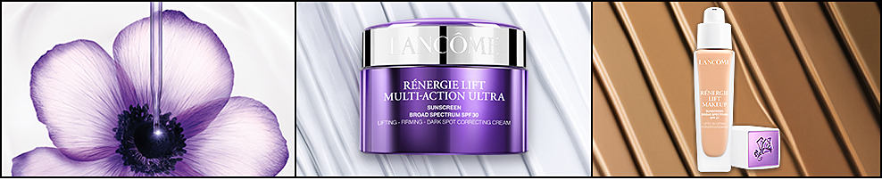 A jar of Lancome Renergie Lift Multi-Action Ultra and a bottle of Lancome Renergie Lift Makeup.