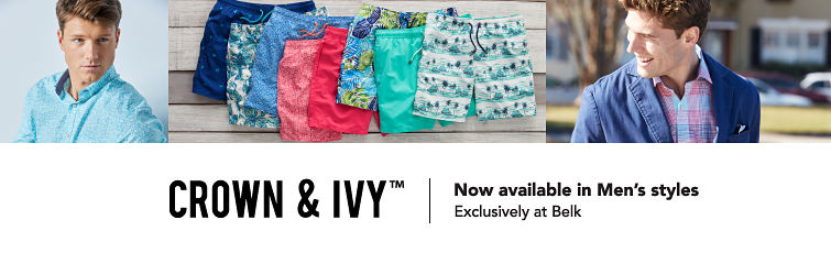 Crown and Ivy trademark. Now available in Men's styles. Exclusively at Belk