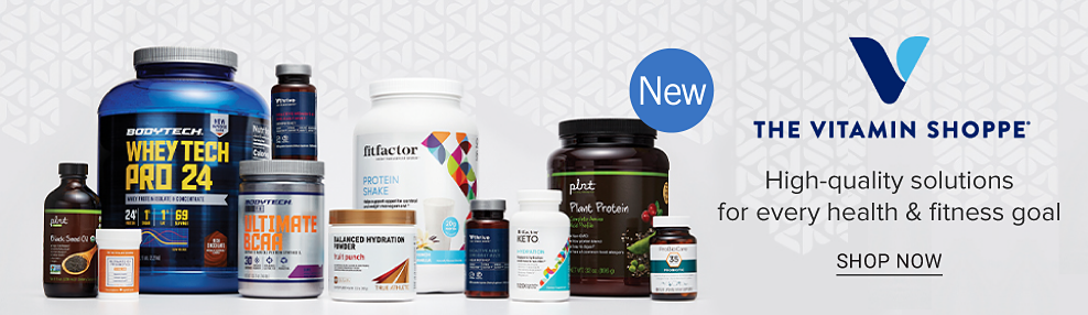 A variety of vitamins, supplements and large containers of protein powder. New! The Vitamine Shoppe. High-quality solutions for every health and fitness goal. Shop now.
