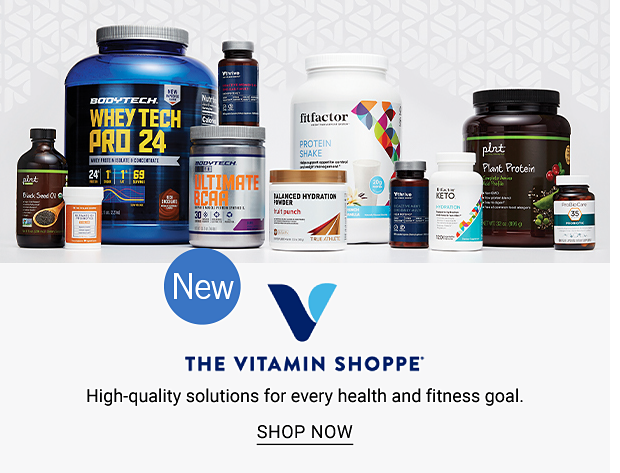 An assortment of vitamins and powders. New. The Vitamin Shoppe. High-quality solutions for every health and fitness goal. Shop now