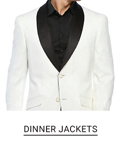A man in a white dinner jacket with black trim and a black dress shirt. Shop dinner jackets.