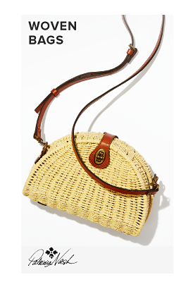 A woven bag with a brown shoulder strap. Woven bags. Patricia Nash.
