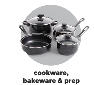 Black cookware including pots, pans and glass lids. Cookware, bakeware and prep.