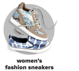 A tan sneaker wedge with blue accents. A blue and white tie-dye canvas shoe. Women's fashion sneakers.