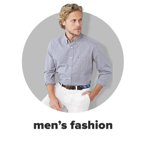 A man wearing white dress pants and a blue dress shirt. Men's fashion.