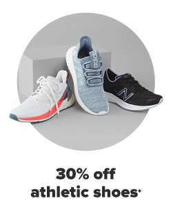 Three active shoes. A dark blue New Balance, a light blue Adidas and a white shoe with a fuschia stripe but no discernable brand. 30% off athletic shoes for the family.