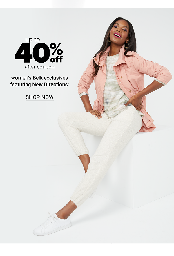 Up to 40% off women's Belk exclusives featuring New Directions, after coupon. Shop Now.