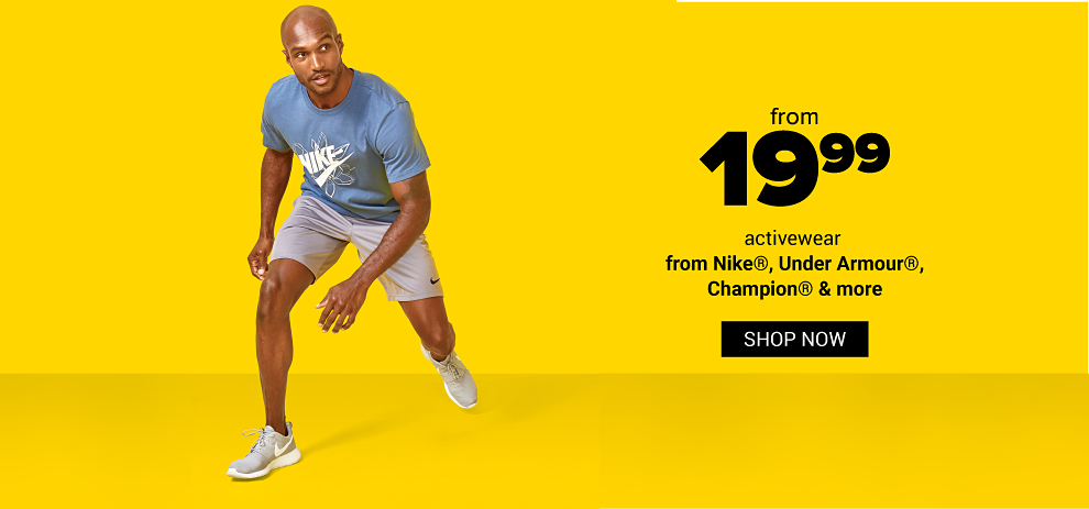 A man in a blue tee shirt grey shorts and grey sneakers. From 19.99 activewear from Nike, Under Armour Champion and more. Shop now.