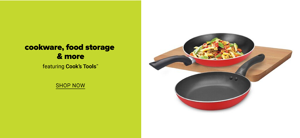 A red frying pan with sauteed veggies in it on top of a wooden cutting board with an empty red frying pan beside it. Cookware, food storage and more featuring Cook's Tools. Shop now.