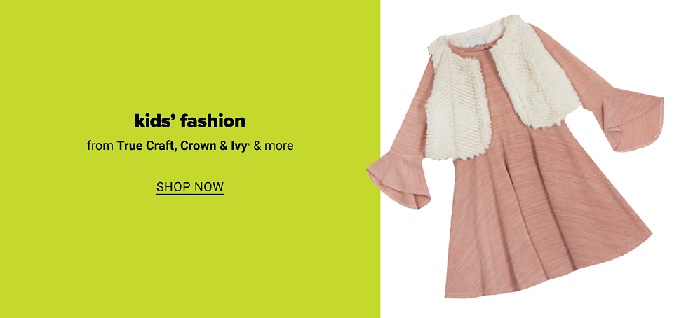 A girls blush sweater knit dress with a white fur vest. Kids' fashion from True Craft, Crown & Ivy and more. Shop now.