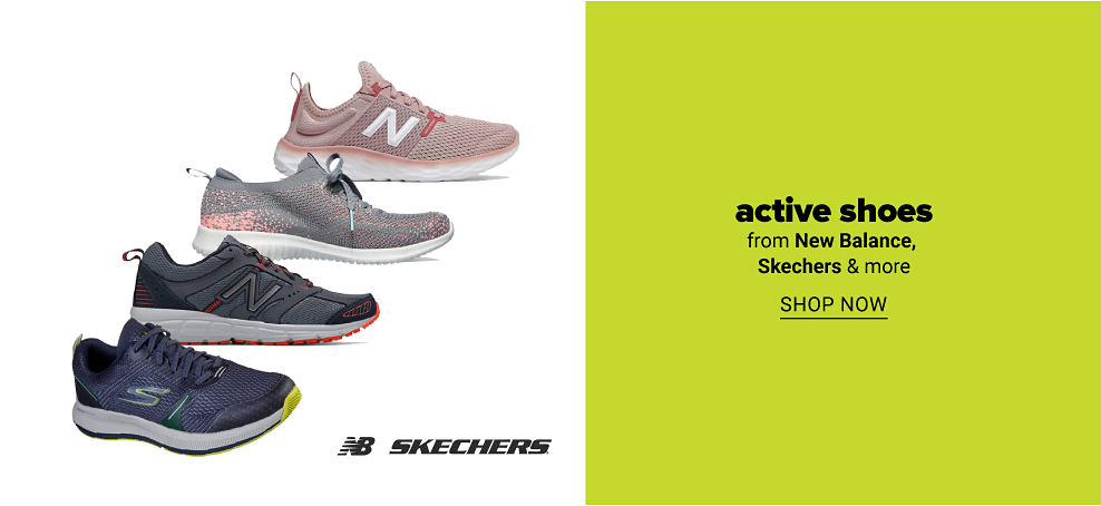 Four pairs of shoes. Pink New Balance, gray and pink New Balance, black and gray New Balance and blue, green and yellow Skechers. Active shoes from New Balance, Skechers and more. Shop now.