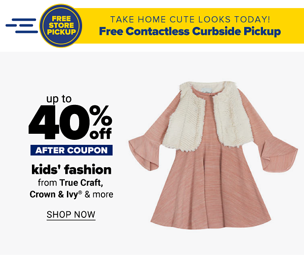 Up to 50% off kids' fashion - after coupon - from True Craft, Crown & Ivy & more. Shop Now.