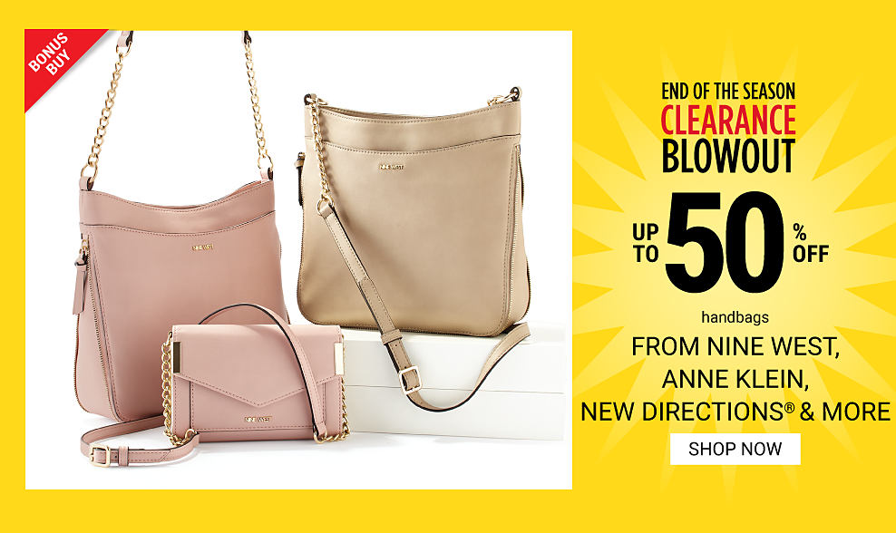 A peach leather handbag, a peach leather clutch & a beige leather handbag. End of the Season Clearance Blowout. Bonus Buy. Up to 50% off handbags from Nine West, Anne Klein, New Directions & more. Shop now.