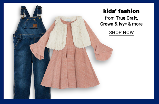 Blue overalls and a girls blush sweater knit dress with a white fur vest. Kids' fashion from True Craft, Crown & Ivy and more. Shop now.