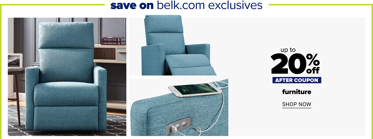 Save on belk.com exclusives. A blue ProLounger power recliner with USB port. Up to 20% off after coupon furniture. Shop now.