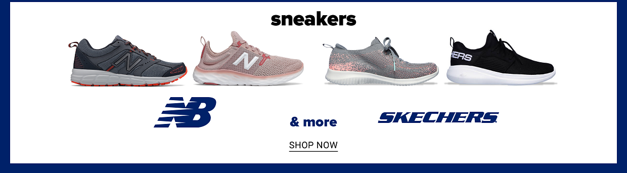 Women's grey New Balance Fresh Foam Sport Athletic Shoes and men's grey New Blance 430 DRFT Running Sneakers. Women's grey and pink Skechers Ultra Flex Sneakers and men's black Skechers Go Run Fast Valor Sneakers. Sneakers from New Balance, Skechers and more. Shop now.