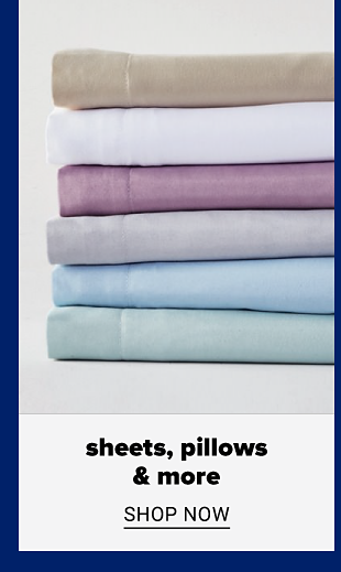 A stack of blue, purple, white and neutral bed sheets. Sheets, pillows and more. Shop now.