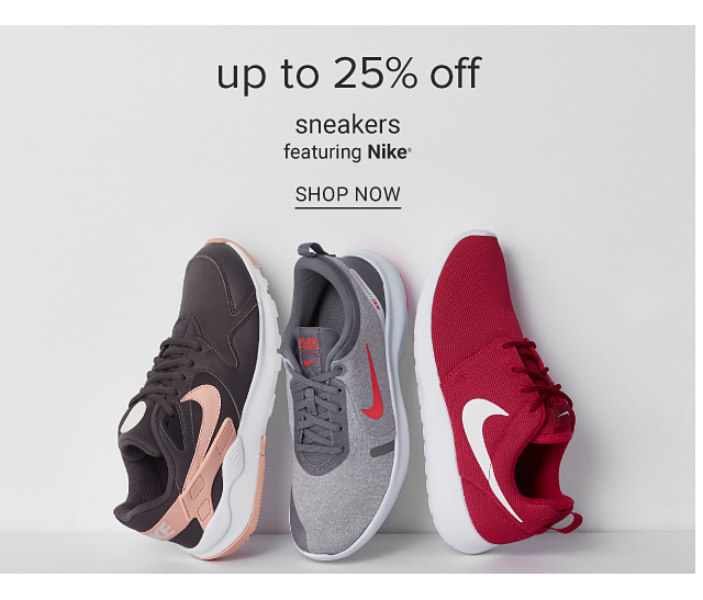 An assortment of sneakers in a variety of colors & styles. Up to 25% off sneakers featuring Nike. Shop now.