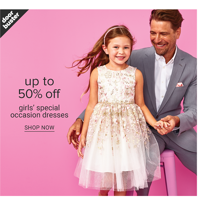 A girl wearing a multi colored floral print sleeveless dress standing next to a man wearing a light gray suit & white dress shirt. Doorbuster. Up to 50% off girls special occasion dresses. Shop now.