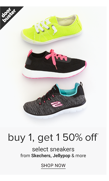 An assortment of sneakers in a variety of colors, prints & styles. Doorbuster. Buy 1, Get 1 50% off select sneakers from Skechers, Jellypop & more. Shop now.