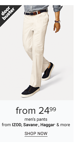 A man wearing a gray long sleeved button front shirt, white pants & black sneakers. Doorbuster. From $24.99 men's pants from Izod, Savane, Haggar & more. Shop now.