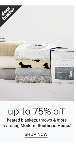 Two stacks of folded blankets in a variety of colors, prints & styles. Doorbuster. Up to 75% off heated blankets, throws & more featuring Modern Southern Home. Shop now.