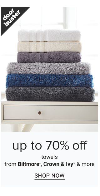 A stack of folded bath towels in a variety of colors. Doorbuster. Up to 70% off towels from Biltmore, Crown & Ivy & more. Shop now.