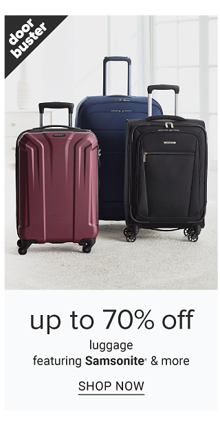 An assortment of hardside wheeled luggage in a variety of colors. Doorbuster. Up to 70% off luggage from Samsonite & more. Shop now.