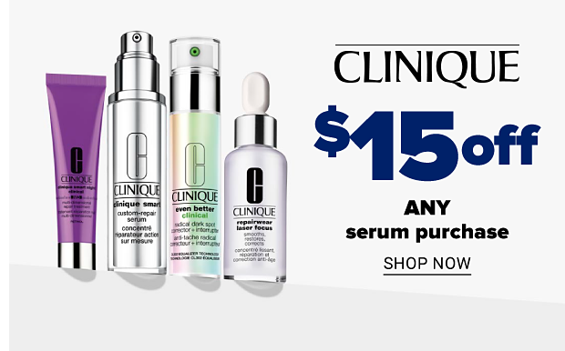 Smart Clinical MD Multi-Dimensional Age Transformer Revolumize Moisturizer to Plump Skin, Smart Custom-Repair Serum, Even Better Clinical Radical Dark Spot Corrector + Interrupter and Repairwear Laser Focus Smooths, Restores, Corrects. Clinique. $15 any serum purchase. Shop now.
