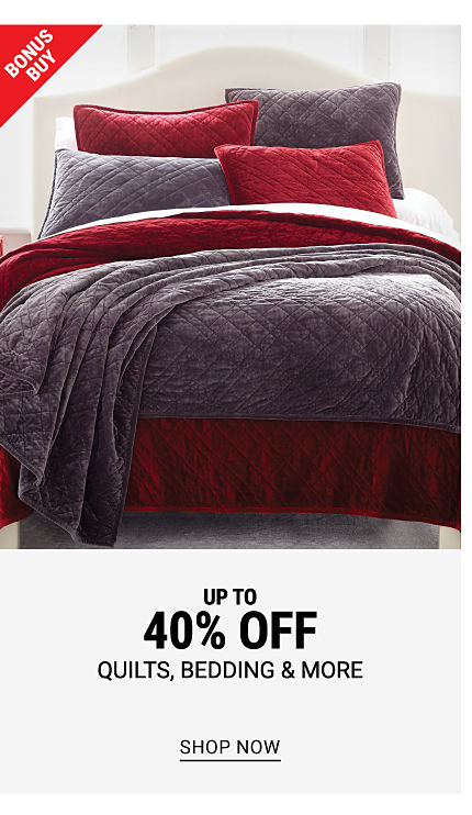 A bed made with a gray quilt, a burgundy comforter & gray & burgundy pillows. Bonus Buy. Up to 40% off quilts, bedding & more. Shop now.