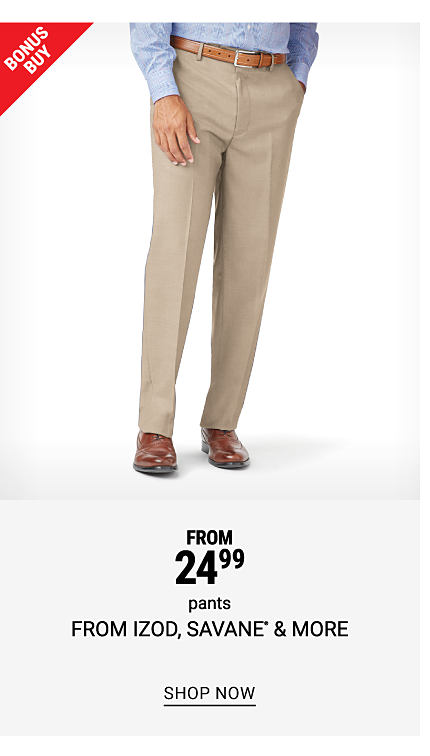 A man wearing a light blue long sleeved button front shirt, beige pants & brown leather shoes. Bonus Buy. From $24.99 pants from Izod, Savane & more. Shop now.