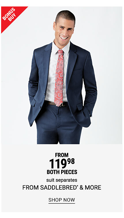 A man wearing a navy suit, a white dress shirt & a multi colored paisley tie. Bonus Buy. From $119.98 both pieces suit separates from Saddlebred & more. Shop now.