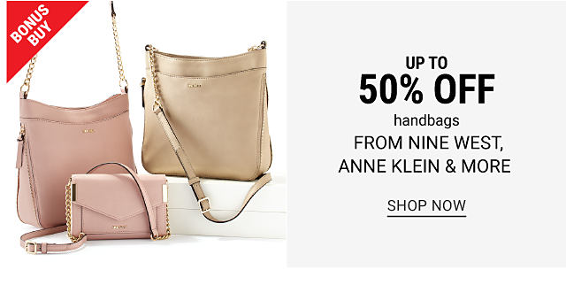 A blush leather handbag, a blush leather clutch & a beige leather handbag. Bonus Buy. Up to 50% off handbags from Nine West, Anne Klein & more. Shop now.