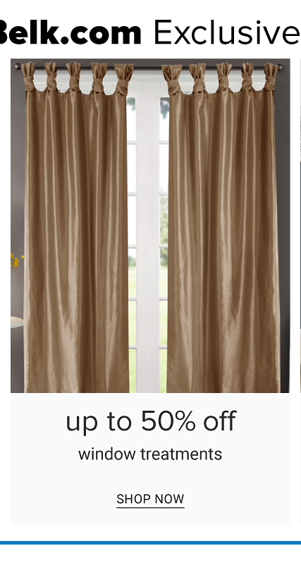 A window covered with brown curtains. Up to 50% off window treatments. shop now.