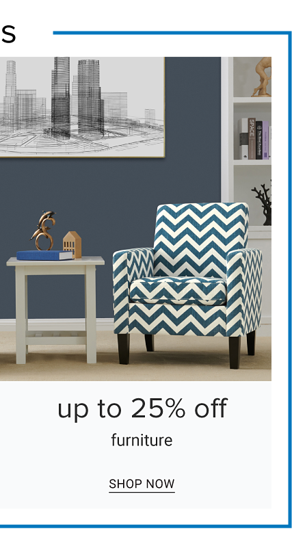 A little white end table next to a blue & white zig zag striped chair. Up to 25% off furniture. shop now.