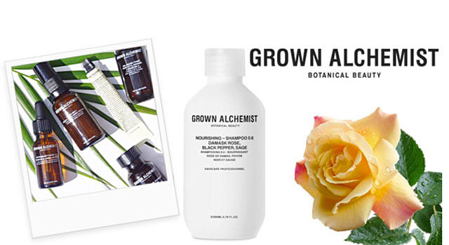 A Polaroid picture of an assortment of Grown Alchemist skin care products. A bottle of Grown Alchemist hair product next to a yellow rose. Grown Alchemist Botanical Beauty. A new generation of organic skincare formulations comprised of of natural technology that has revolutionized the traditional approach to anti-aging skincare, body & hair care. It's now not only preferable, but finally possible, to achieve real beauty results without harmful chemicals. Shop Grown Alchemist.