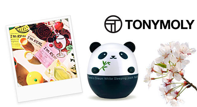 A Polaroid picture of several packages of Tonymoly I'm Real sheet mask. A panda shaped container of Tonymoly Panda's Dream White Sleeping Mask next to some white blossoms. Having pioneered the Korean beauty trend that has taken the beauty world by storm, Tonymoly's high-quality ingredients Combined with innovative technology are recognized worldwide, especially with such unique &inimitable Packaging/ Shop Tonymoly.