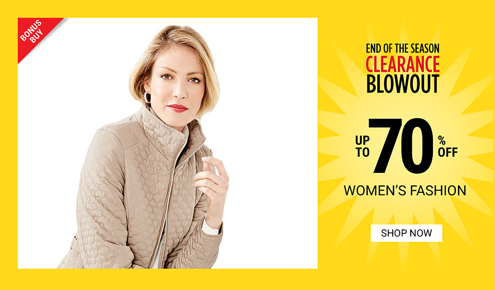 A woman wearing a beige quilted jacket. End of the Season Clearance Blowout. Bonus Buy. Up to 70% off women's fashion. Shop now.