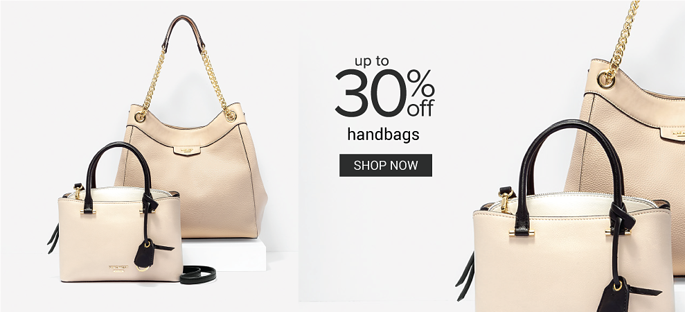 A white leather tote & a beige leather tote. Up to 30% off handbags. Shop now.