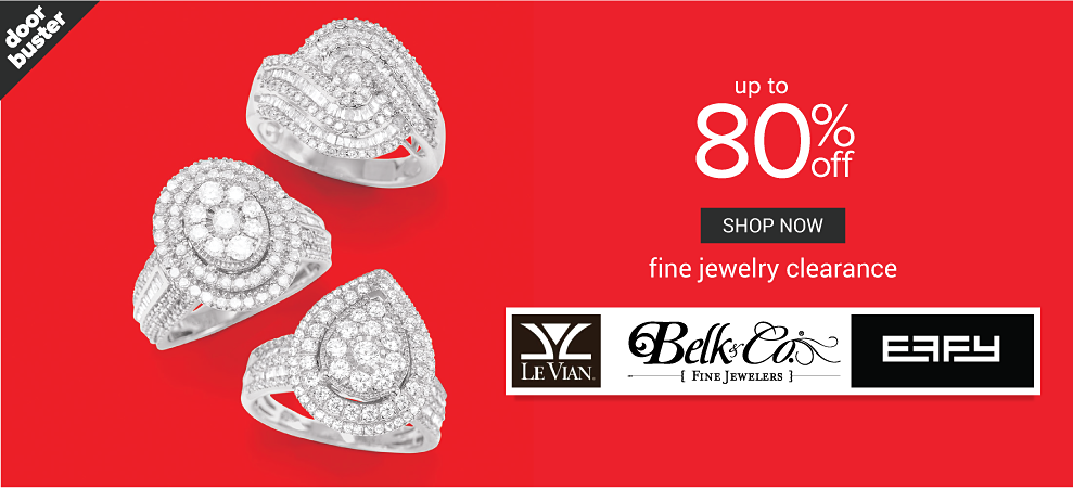 An assortment of diamond & silver rings. Doorbuster. Fine Jewelry Clearance. Up to 80% off select styles from Le Vian, Belk & Co,, Effy & more. Shop now.