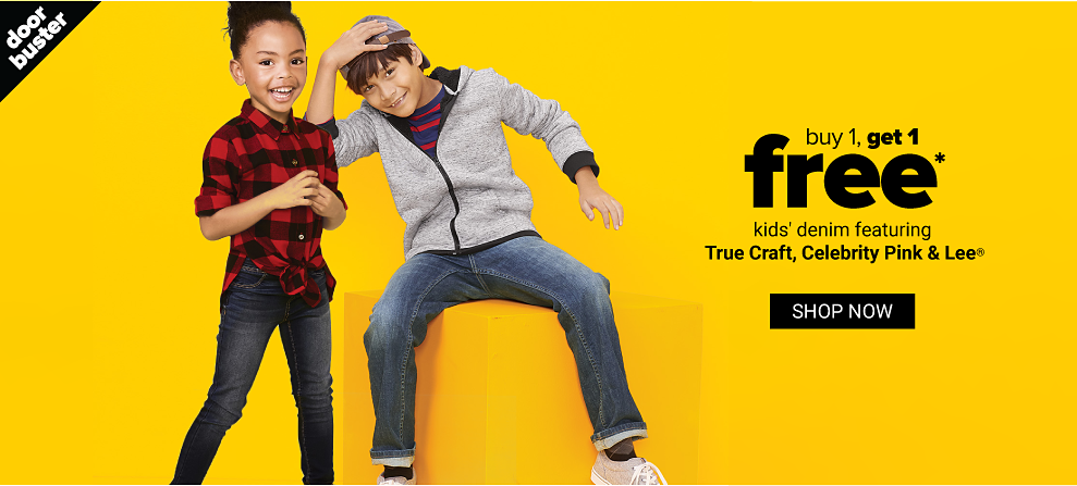 A little girl in a red and black plaid shirt and jeans. A boy in a navy and red stripe shirt, a gray zip front hoodie, jeans and sneakers. Doorbuster. Buy 1, get 1 free kids' denim featuring True Craft, Celebrity Pink and Lee. Shop now.