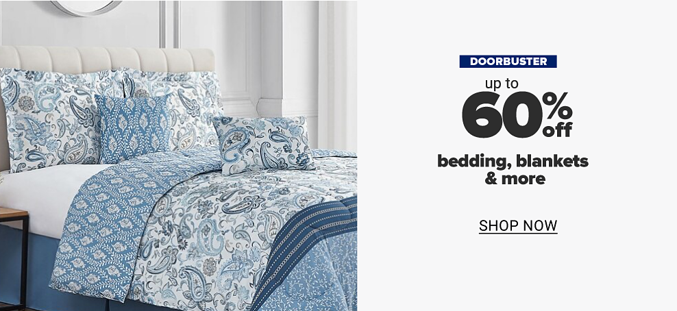 A blue and white bedding set with a paisley design and matching pillows. Save on belk.com exclusives. Doorbuster. Up to 60% off bedding, blankets and more. Shop now.