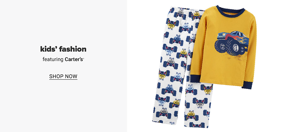 A boys fleece monster truck pajama set. Kids' fashion featuring Carters. Shop now.