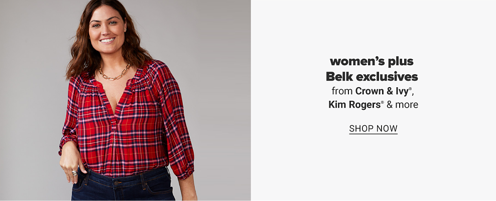 A woman in a tartan plaid, three quarter length tunic shirt with a gold chain necklace and dark jeans. Women's plus Belk exclusives from Crown and Ivy, Kim Rogers and more. Shop now.