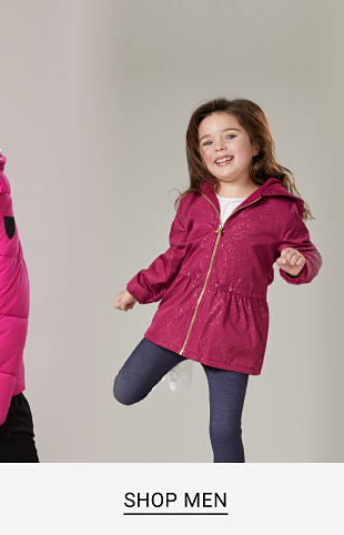 A woman wearing a bright pink puffer jacket. A little girl wearing a pink jacket with gold details and a hood. A man wearing a green knit sweater. 70% off women's, men's and kids' sweaters, outerwear, fleece and more. Shop women. Shop juniors. Shop men. Shop kids.
