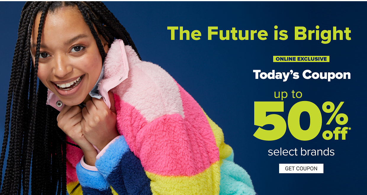 A woman in a neon pink, blue and yellow long sleeve stripe woobie pullover. The future is bright in neon fleece. Online exclusive. Today's coupon up to 50% off select brands. Get coupon.