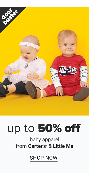 A baby girl wearing a white headband, white onesie & black shoes sitting next to a baby boy wearing a red T shirt with black Mighty front graphic over a white & black horizontal striped long sleeved shirt, red pants & brown shoes. Doorbuster. Up to 50% off baby apparel from Carter's, Little Me & more. Shop now.